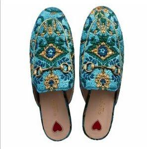 Gucci Blue multicolor Princetown Mules size 39.5